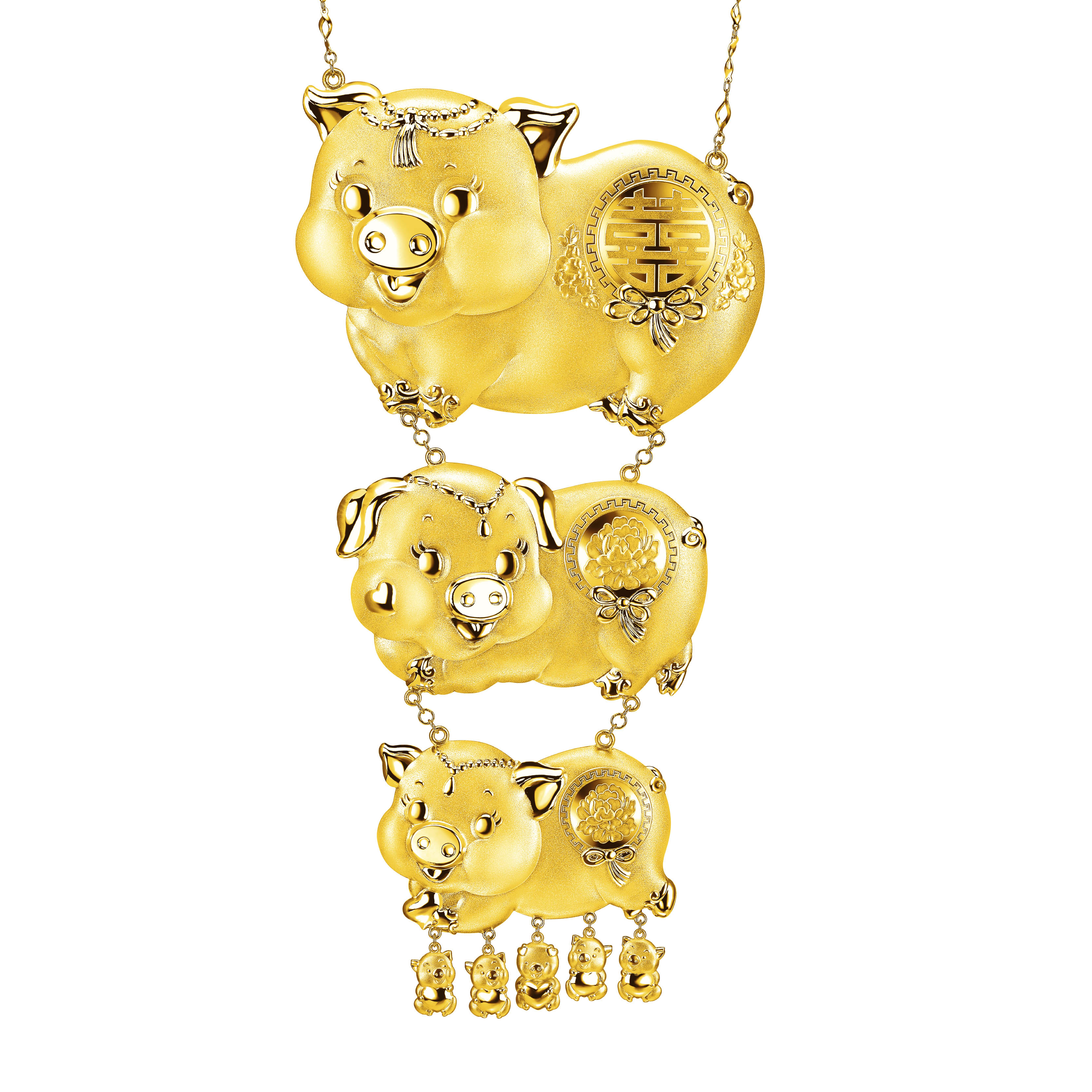 Beloved Collection Gold Pigs with Double Happiness Necklace