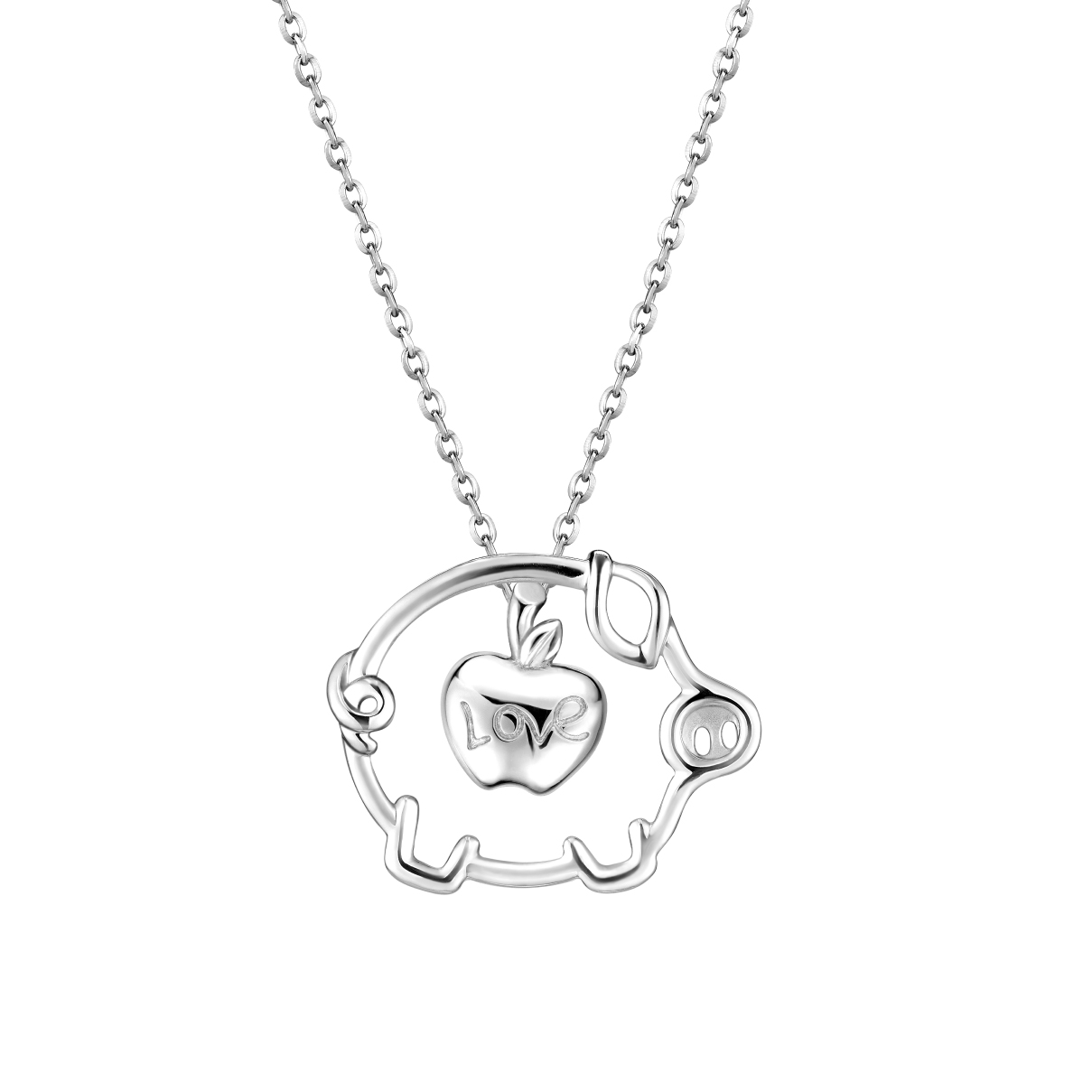Pt Baby Darling Cute Pet & Apple Pendant