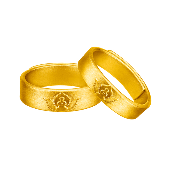 Antique Gold Twin Flowers Gold Rings