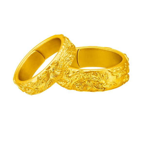 Antique Gold Auspicious Dragon & Phoenix Gold Rings
