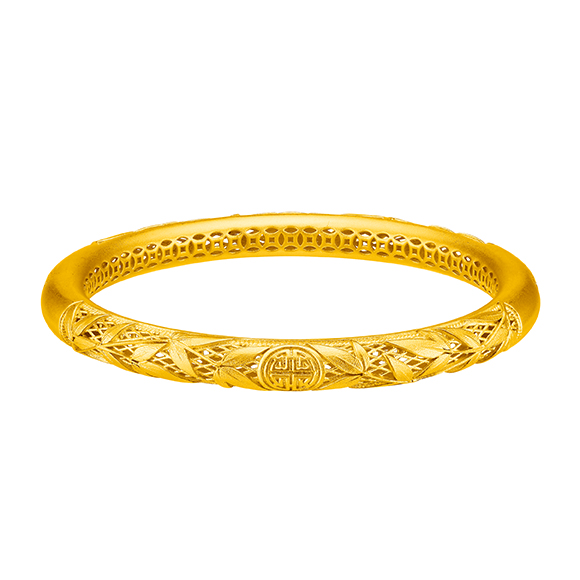 Antique Gold Bamboo Presages Peace and Wellbeing Gold Bangle