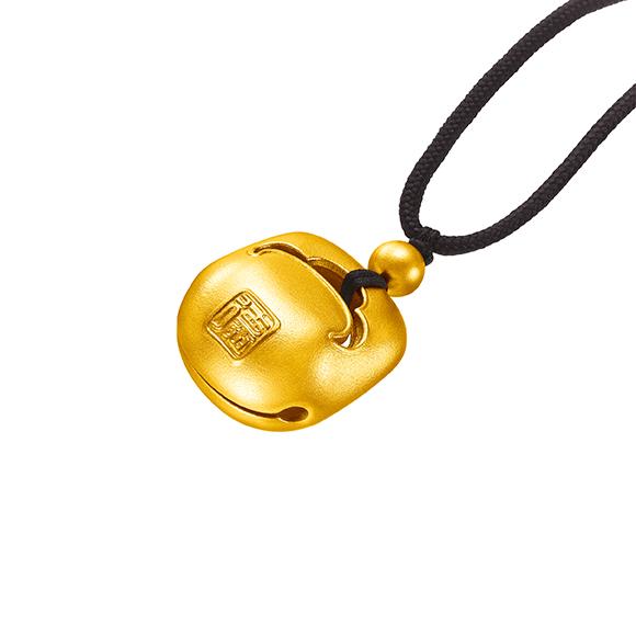 Antique Gold Woodblock Gold Pendant