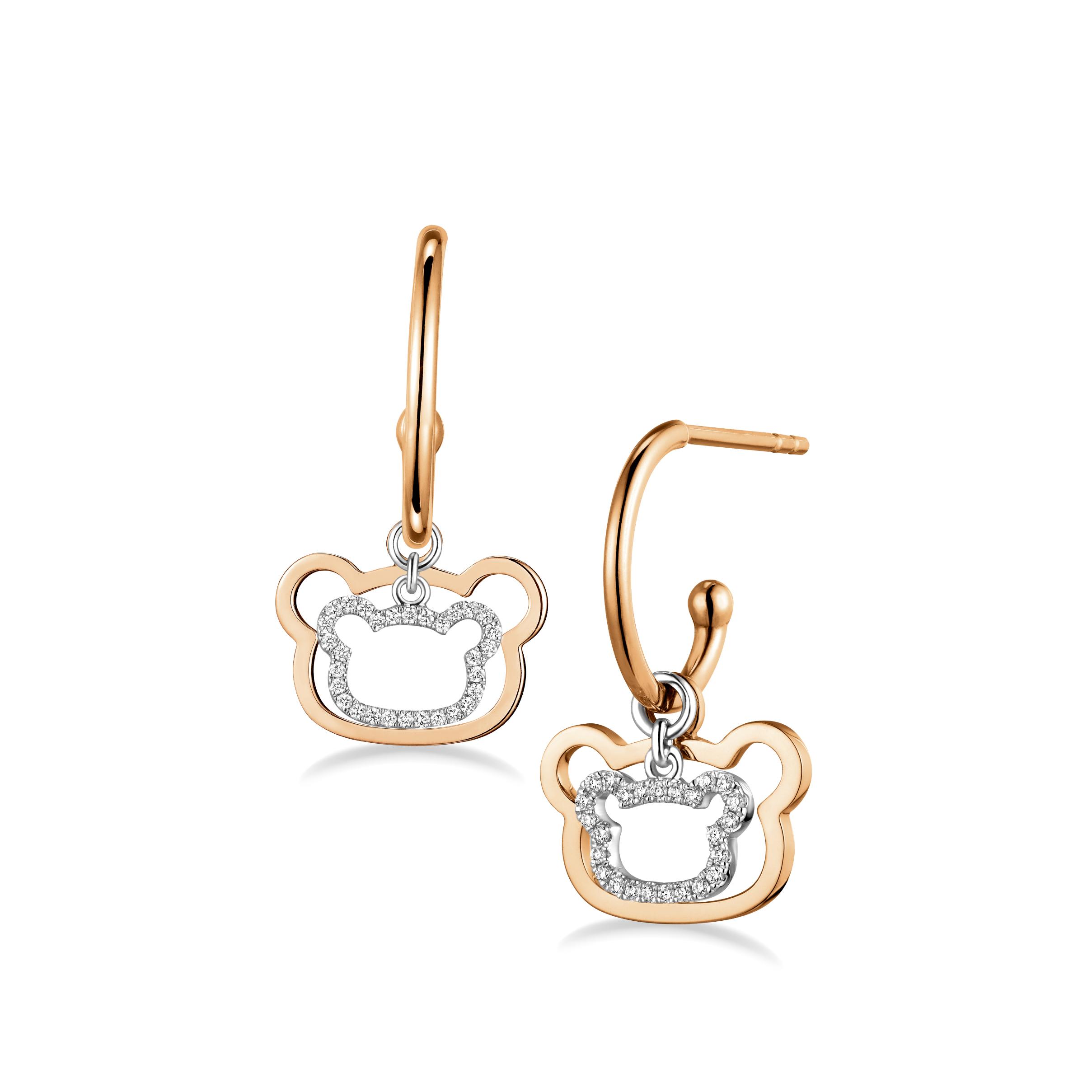 Rilakkuma™Collection 18K Gold Diamond Earrings