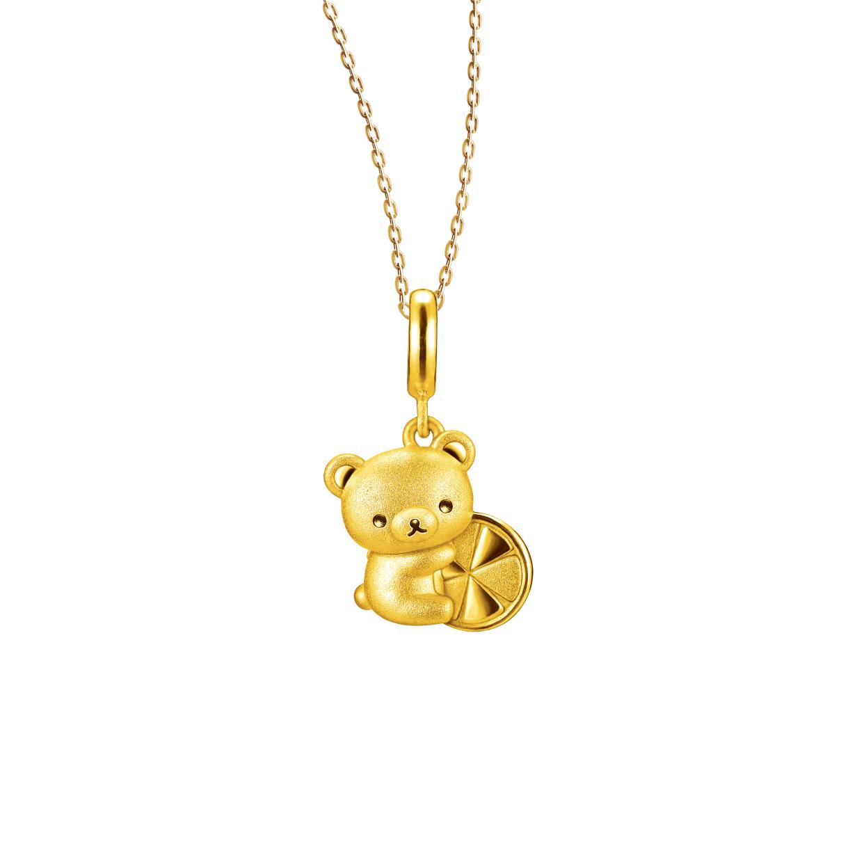 轻松小熊™系列轻松小熊™抱柠檬足金立体坠饰