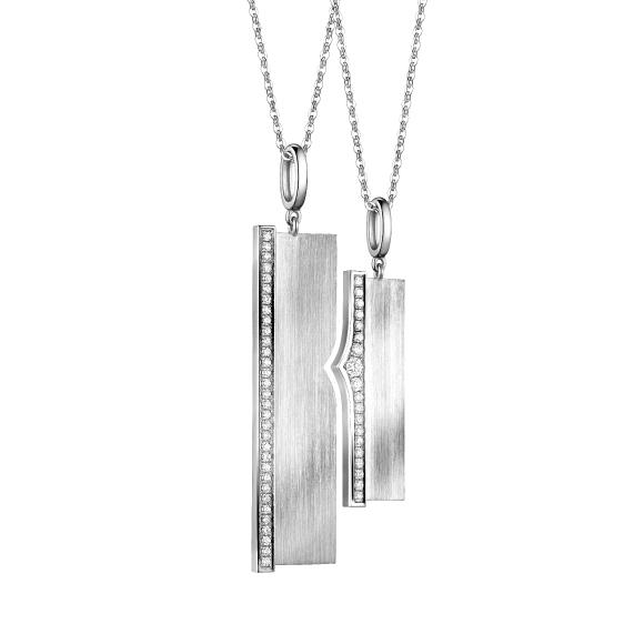 爱恒久系列18K金(白色)钻石情侣挂坠