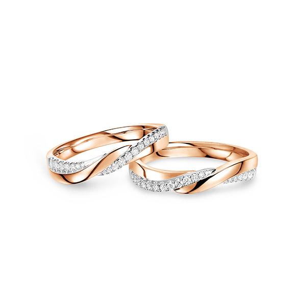 婚嫁系列「编织爱」18K金钻石对装戒指