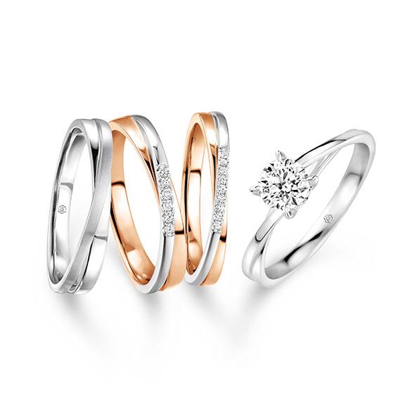婚嫁系列「相拥彼此」18K金钻石戒指
