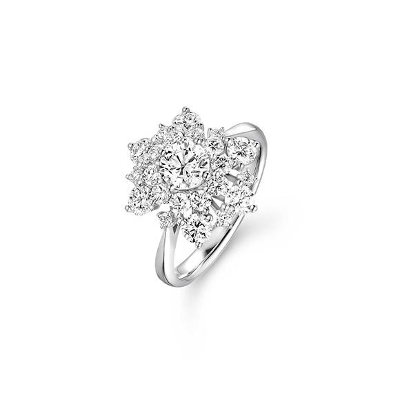 婚嫁系列「甜蜜岁月」18K金(白色)钻石戒指