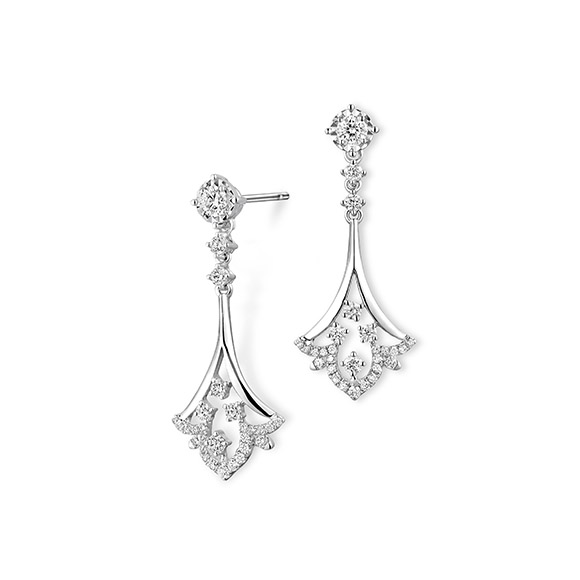 "Wedding Collection""Love Story"" 18K White Gold Diamond Earrings"