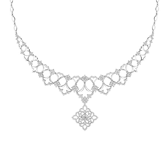婚嫁系列「共谱恋曲」18K金(白色)钻石项链