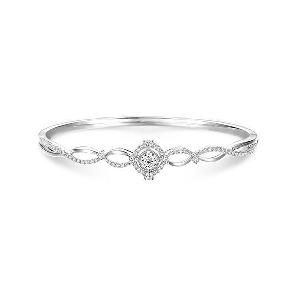 婚嫁系列「浪漫綻放」18K金(白色)钻石手镯