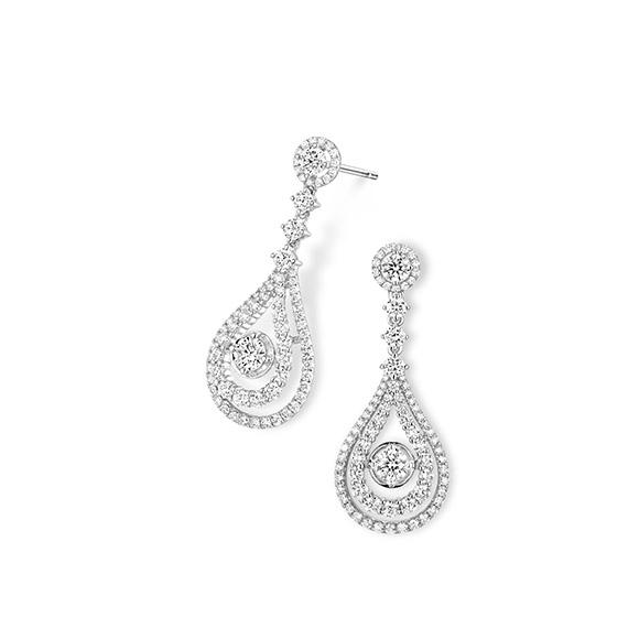 "Wedding Collection""Romantic Beauty"" 18K White Gold Diamond Earrings"