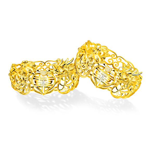 """Beloved Collection""""Dragon & Phoenix with Double Happiness"""" Gold Bangle"""