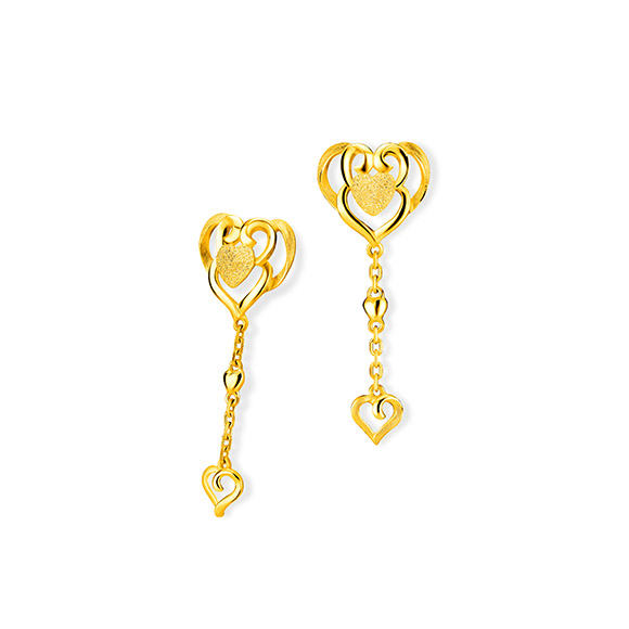 """Beloved Collection""""Dragon & Phoenix with Double Happiness""""Gold Earrings"""