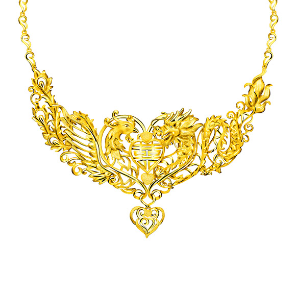 "Beloved Collection""Dragon & Phoenix with Double Happiness""Gold Necklace"