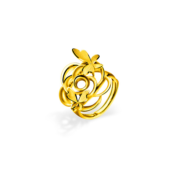 "Beloved Collection""Butterflies Dancing in Flowers""Gold Ring"