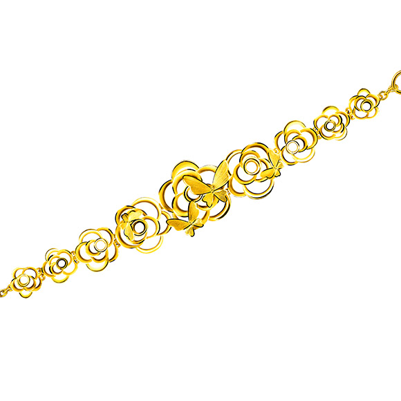 "Beloved Collection""Butterflies Dancing in Flowers""Gold Bracelet"