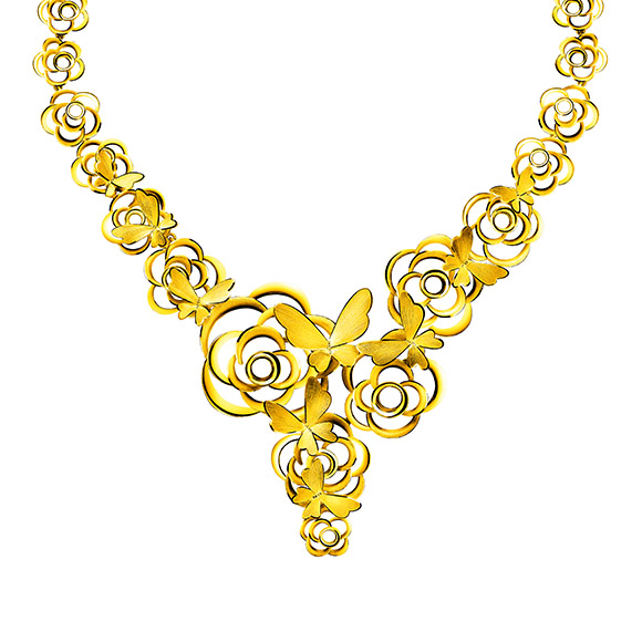 "Beloved Collection ""Butterflies Dancing in Flowers""Gold Necklace"