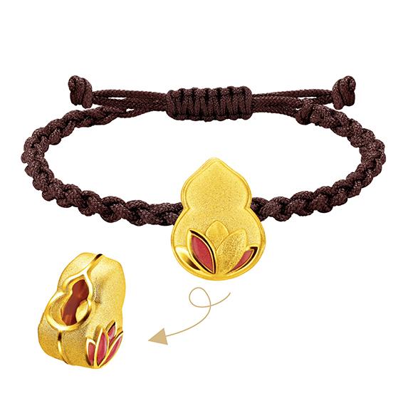 福鼠臨門系列蓮花襯葫蘆造型串飾