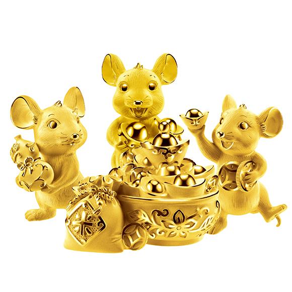 福鼠臨門系列運財三福鼠黃金擺件