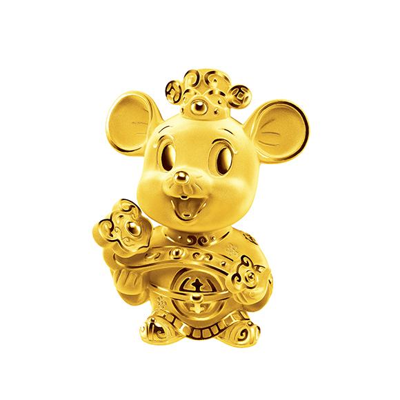 福鼠臨門系列財神金鼠黃金擺件