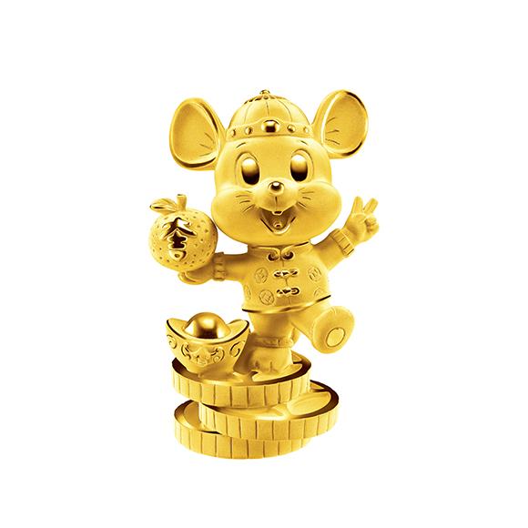 福鼠臨門系列吉祥金鼠黃金擺件