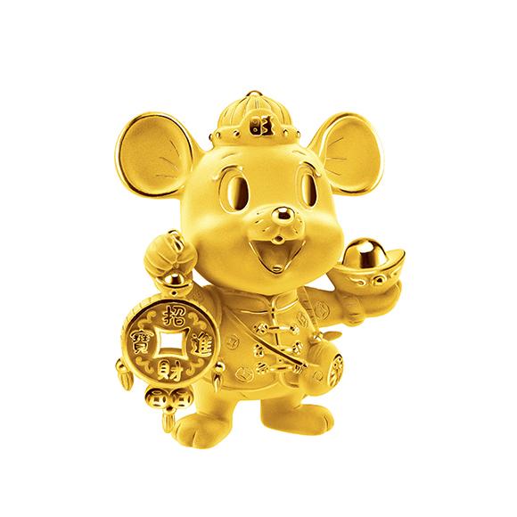 福鼠臨門系列招財金鼠黃金擺件