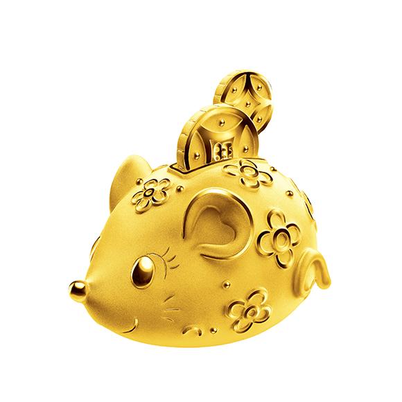 福鼠臨門系列金鼠錢罌黃金擺件