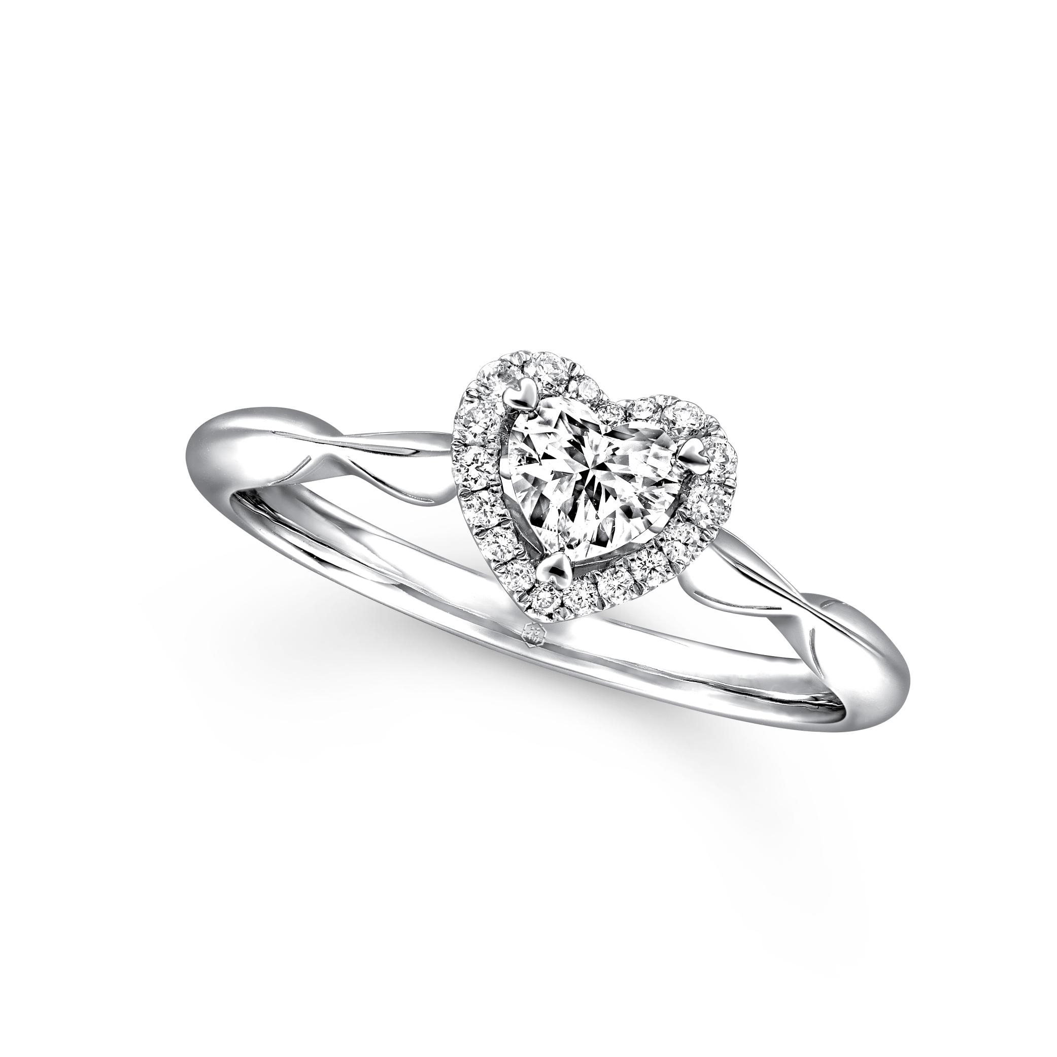 愛很美系列18K金(白色)鑽石戒指(港澳專款)