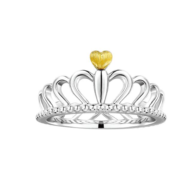 Pt「宝贝亲爱」系列「甜心.皇冠」戒指