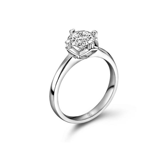 八心八箭系列18K金(白色)钻石戒指