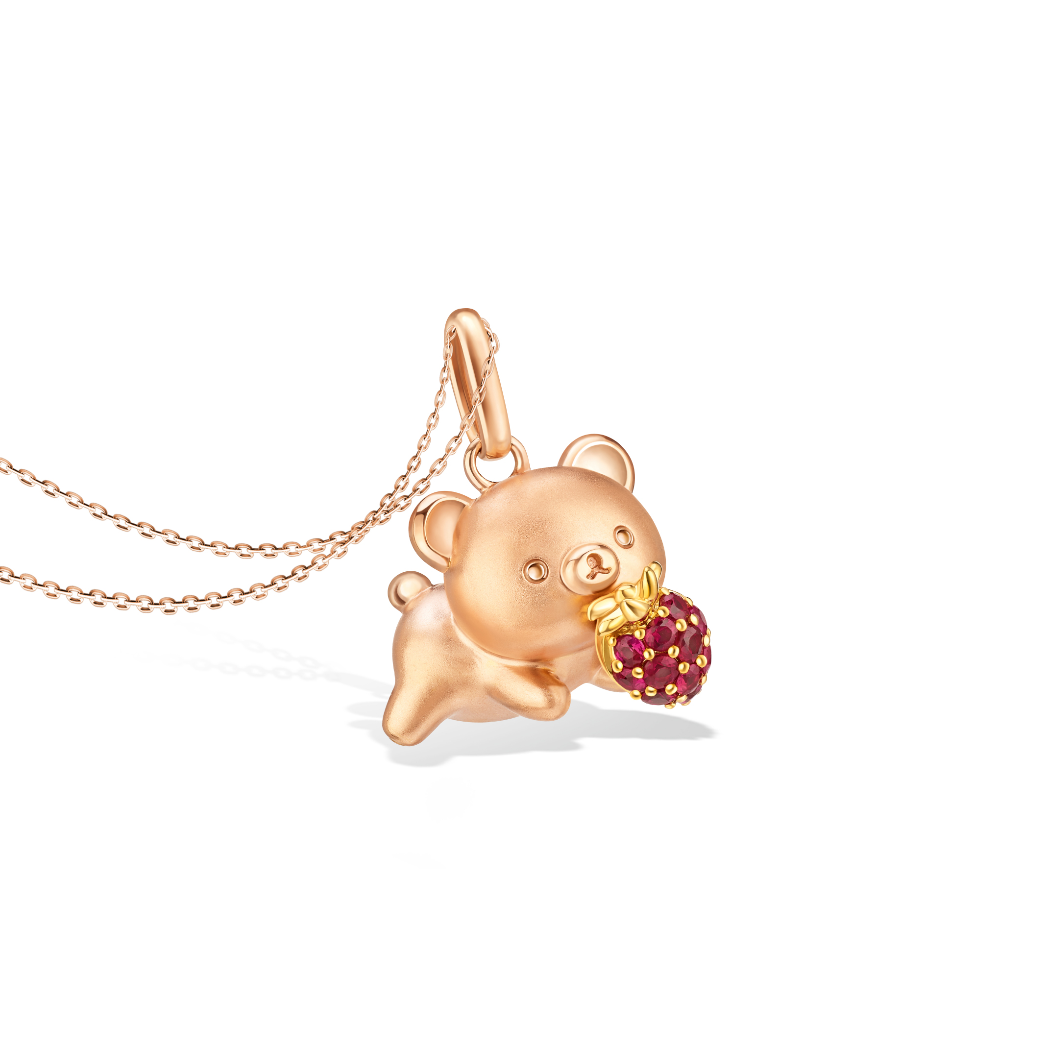 Rilakkuma™ Collection  Chairoikoguma & Strawberry 18K Rose Gold Pendant with Ruby