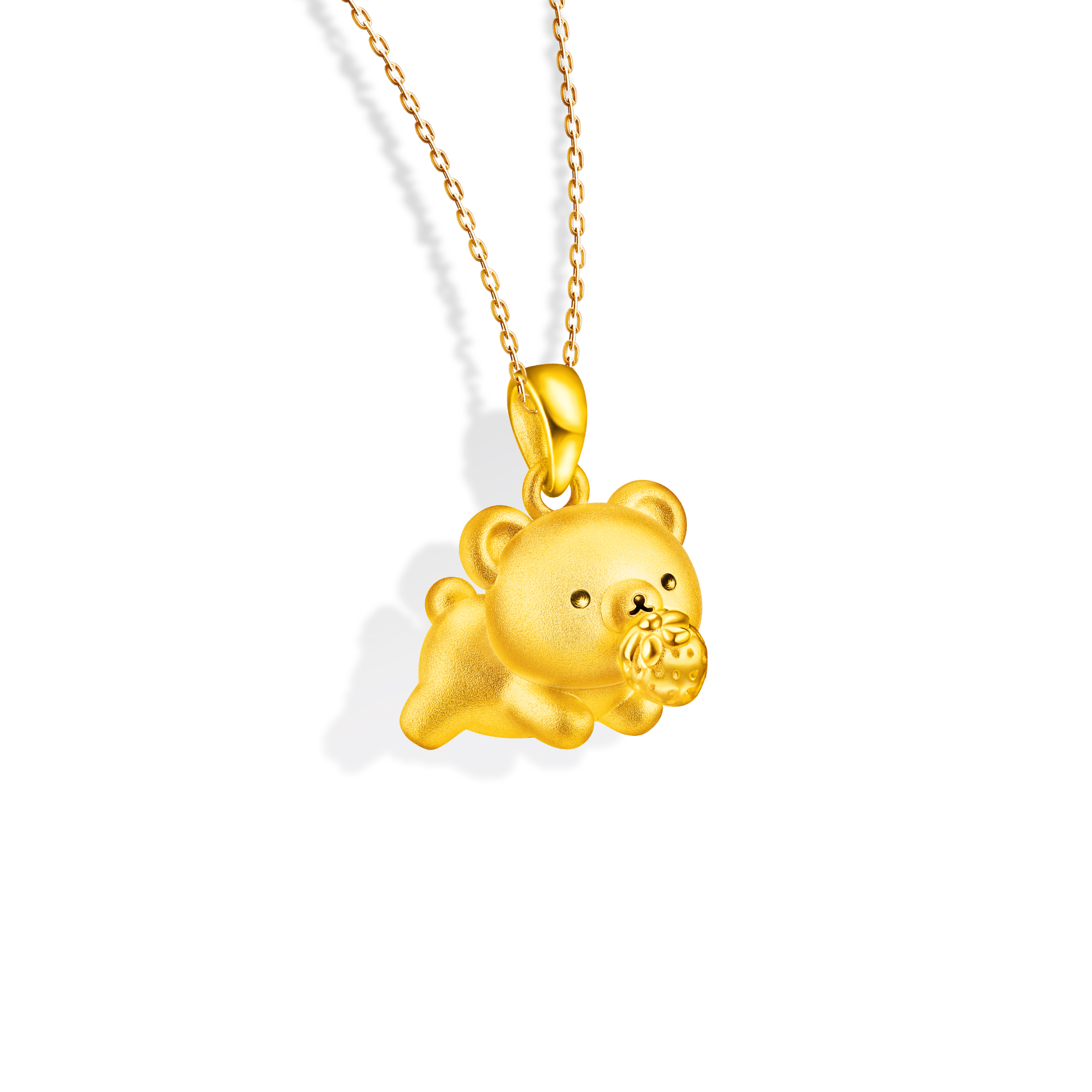Rilakkuma™ Collection  Chairoikoguma & Strawberry Three-dimensional Gold Pendant