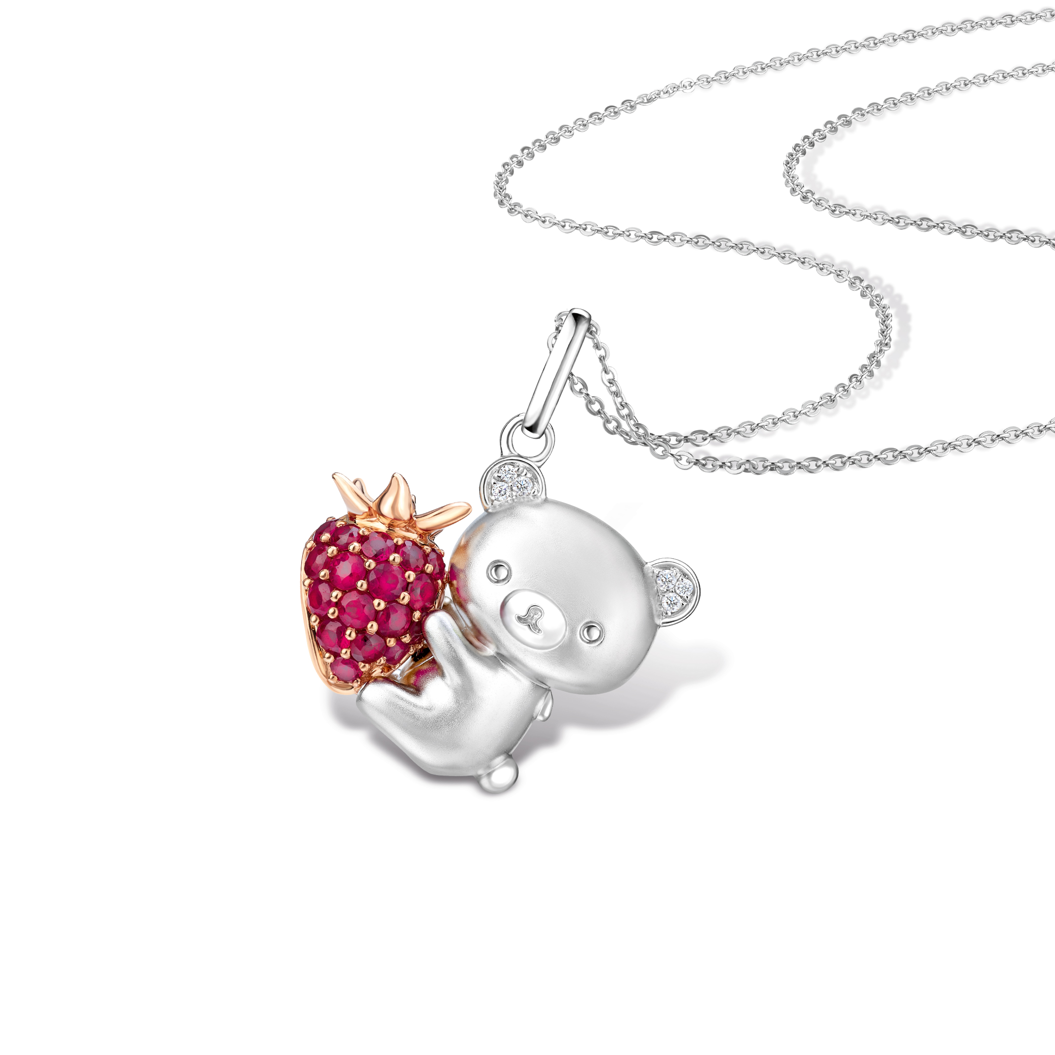 Rilakkuma™ & Strawberry 18K Gold Diamond Pendant with Ruby