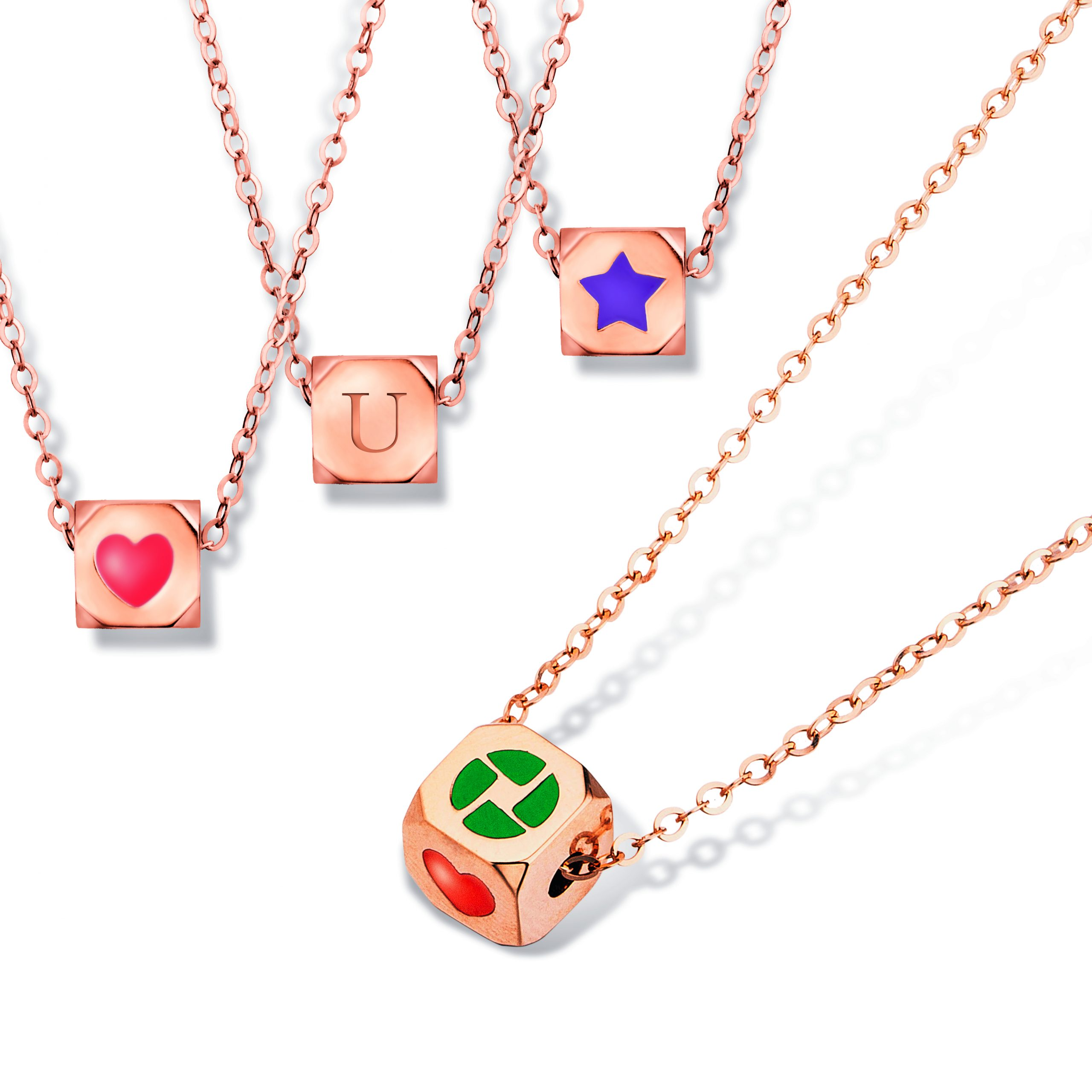 Hot items Dainty Magic Cube 18K Gold Necklace
