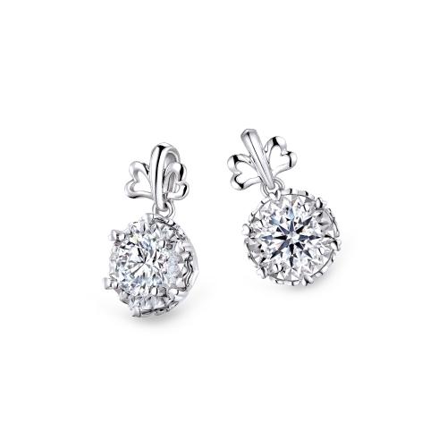 愛很美系列18K金(白色)鑽石耳環