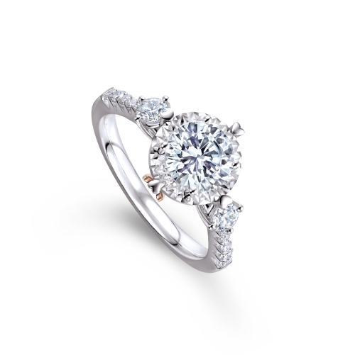 愛很美系列18K金(白色)鑽石戒指