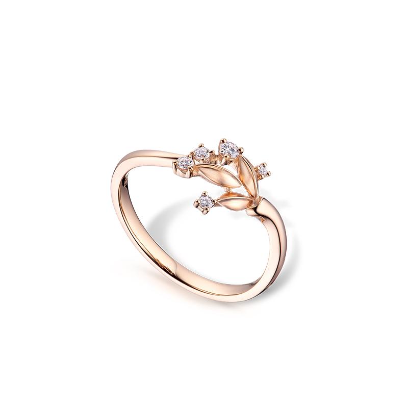 穀粒18K金鑽石戒指