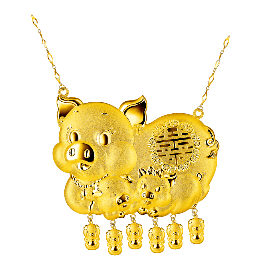Beloved Collection Gold Pigs Necklace