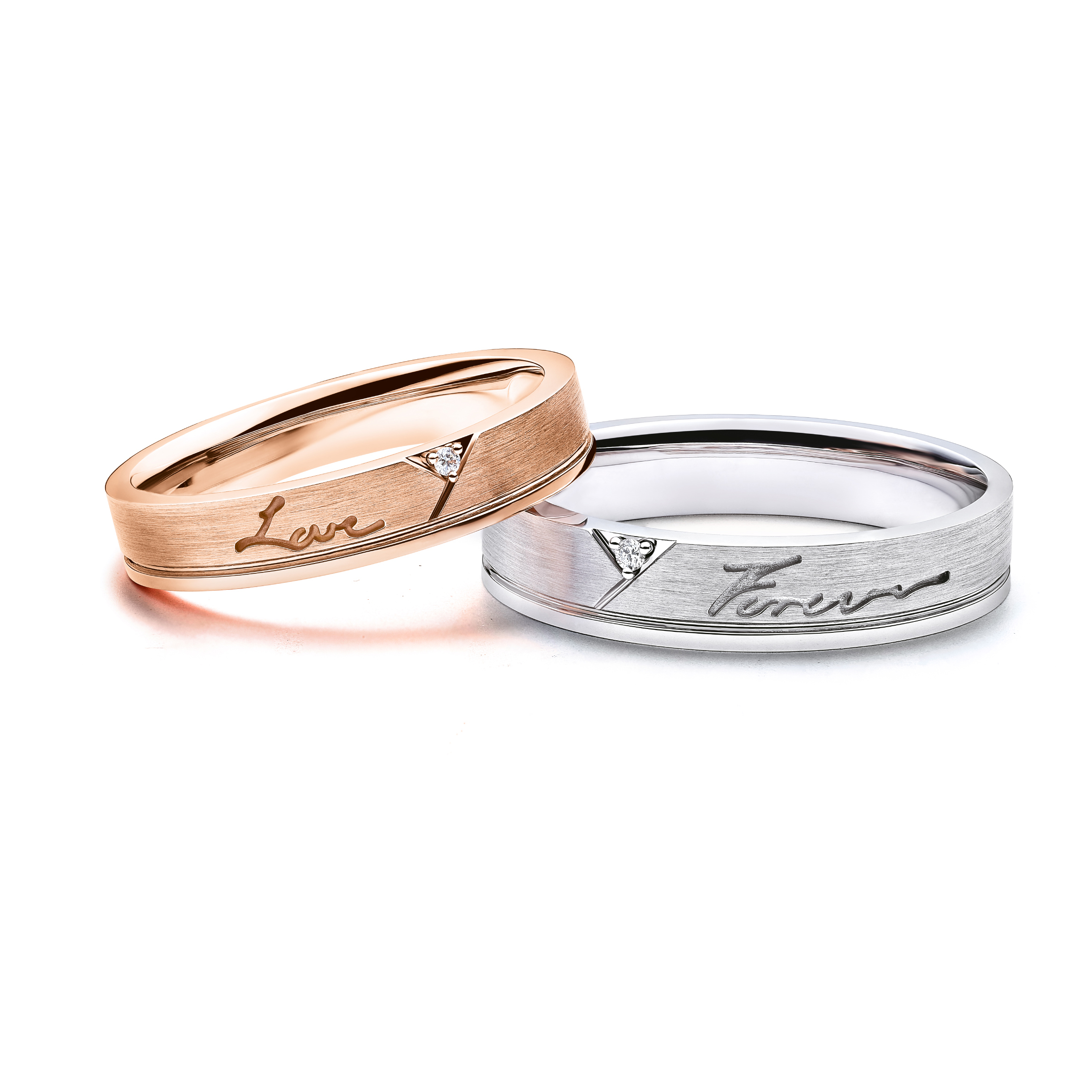 Love Forever Collection 18K Gold Diamond Couple Rings