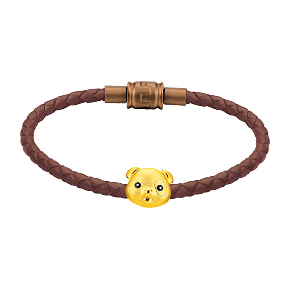 「金牛聚寶」系列十二生肖黃金串飾(狗)