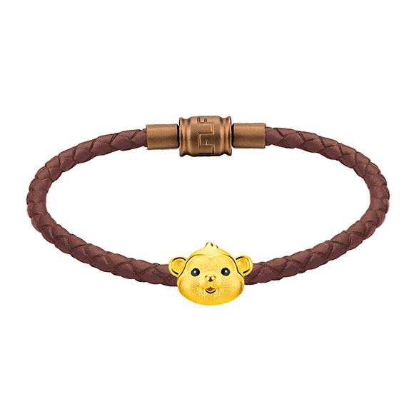 「金牛聚寶」系列十二生肖黃金串飾(猴)