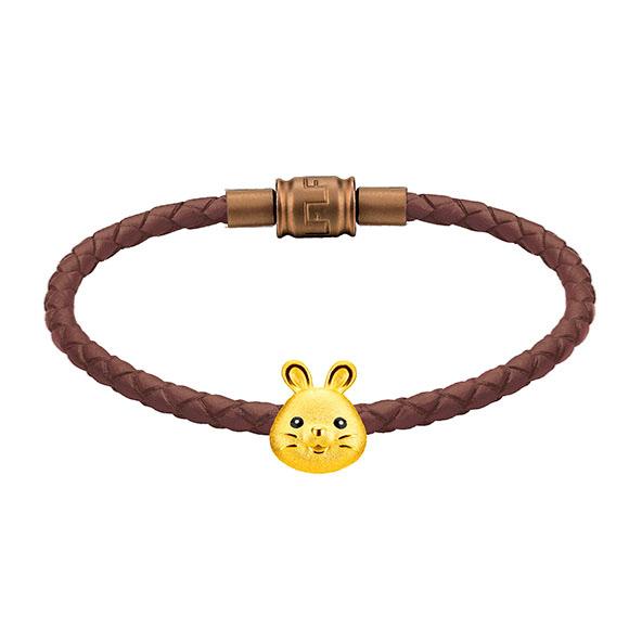 「金牛聚寶」系列十二生肖黃金串飾(兔)