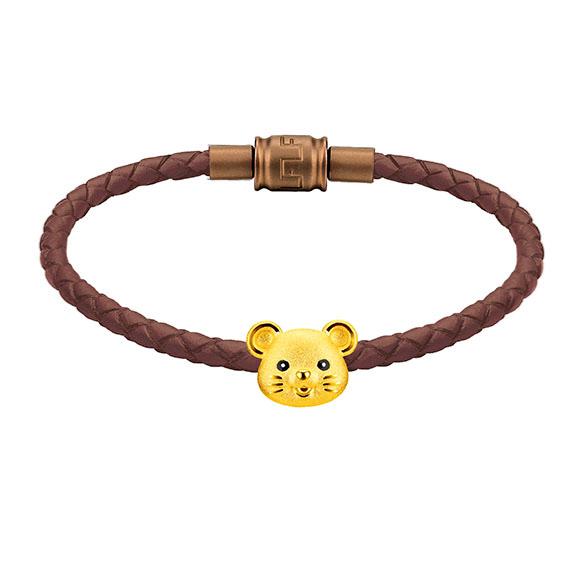 「金牛聚寶」系列十二生肖黃金串飾(鼠)