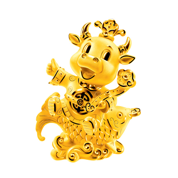 """Treasure Ox Collection""""God-of-Wealth Ox"""" Gold Figurine"""