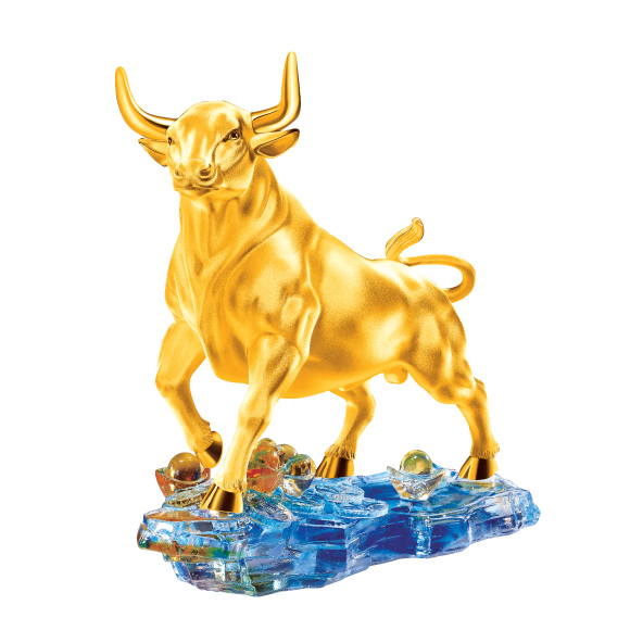 """Treasure Ox Collection """"Promising Ox"""" Gold Figurine"""