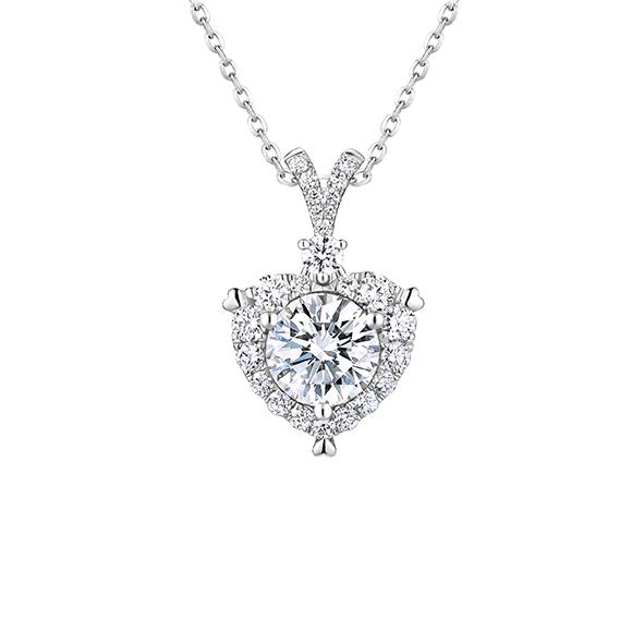 愛很美系列18K金(白色)鑽石吊墜