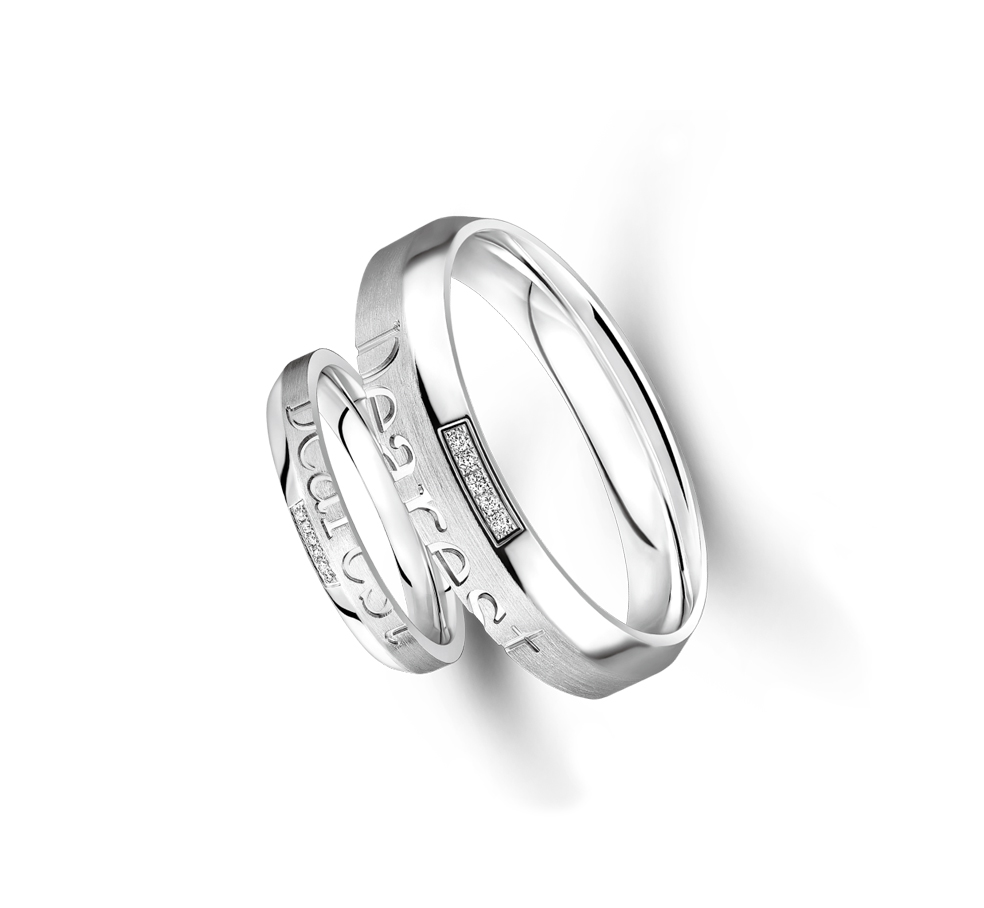 Wedding Collection「十指紧扣」18K White Gold Wedding Rings