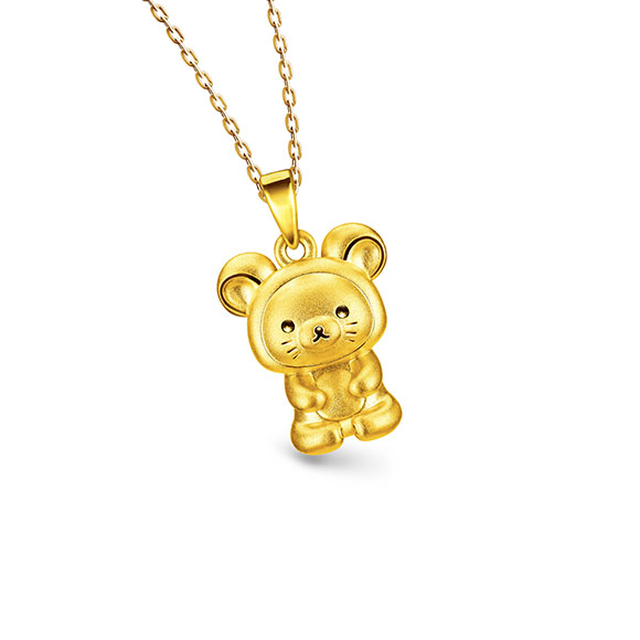Rilakkuma™Collection Three-dimensional Gold Pendant