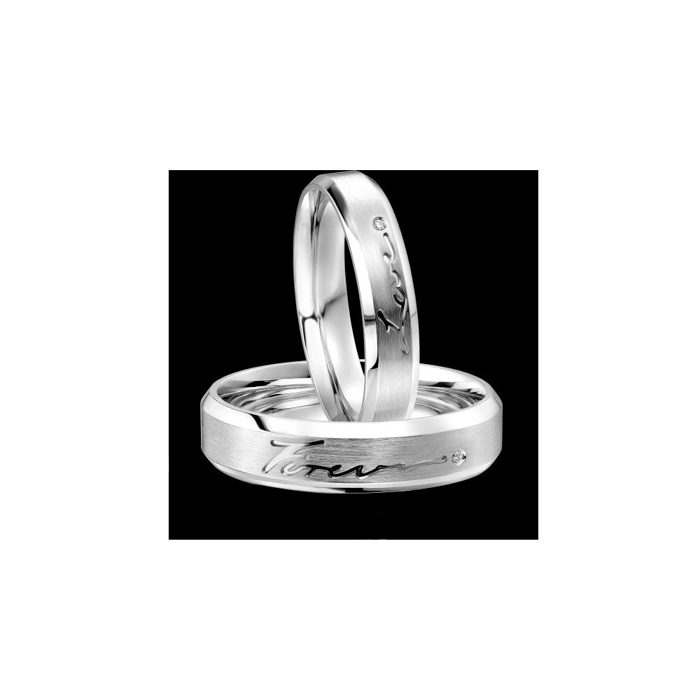 爱恒久系列「情投意合」18K金钻石情侣对戒